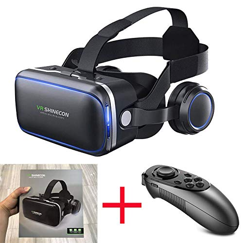 VR Headset Virtual Reality Headset, SHINECON6.0 VR Goggles for TV, Movies & Video Games - 3D VR Glasses Virtual Reality Glasses Compatible iOS, Android & Other Phones Within 4.0-6.5in with Controller