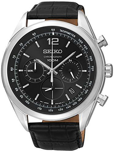(Seiko Chronograph Black Dial Stainless Steel Black Leather Mens Watch SSB097)