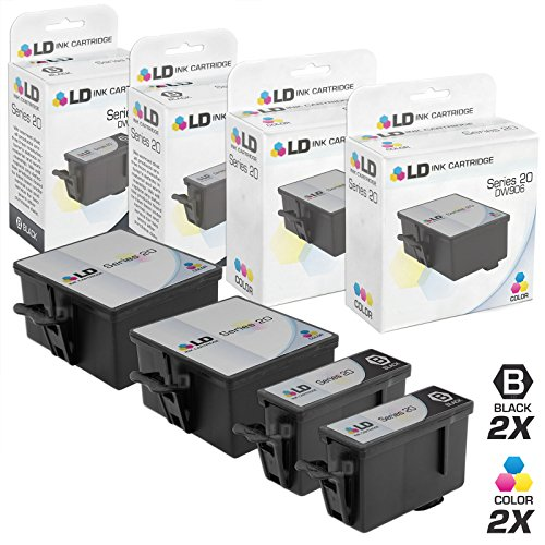 LD Compatible Ink Cartridge Replacement for Dell Photo P703W Series 20 (2 Black, 2 Color, 4-Pack)