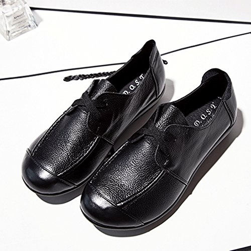 T-JULY Loafers Shoes For Women - Lace-up Lightweight Slip On Flat Round Toe Casual Penny Black LgYFRO1PP