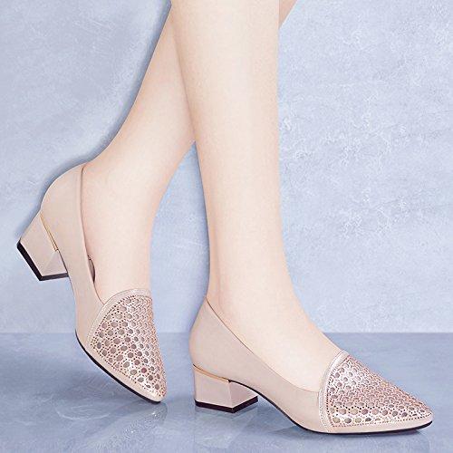 mujer mujeres de de Tacones noche zapatos tacones Color de Las o Champagne zapatos mediana de o edad HUAIHAIZ altos pZXEnxII
