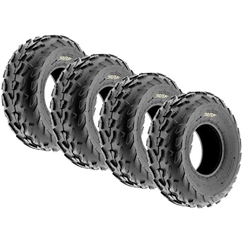 Set of 4 SunF A007 ATV Go-Kart Sport Tires 18x7-7 Front & 18x7-7 Rear, 4 PR, Directional Knobby Tread (Tires 4 Wheeler Atv)