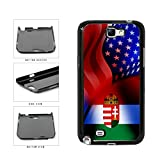 BleuReign(TM) Hungary and USA Mixed Flag Plastic Phone Case Back Cover Samsung Galaxy Note II 2 N7100