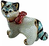 "Custom & Unique {4 x 4.75"" Inch} 1 Single, Medium Home & Garden ""Standing"" Figurine Decoration Made of Grade A Genuine Porcelain w/ Cute Little Rinconada Cat Style {White, Blue, Red}"