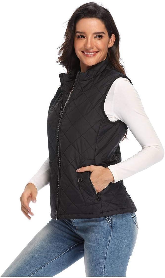 Argstar Lightweight Stand Collar Zip Pockets Gilet Quilted Puffy Vest for Women