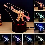 Yhope Optical Illusion Desk Lamp Creative 3D Machine Gun LED Night Light 7 Color Changing USB Touch Table Lamp Decoration Nice Gift