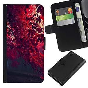 NEECELL GIFT forCITY // Billetera de cuero Caso Cubierta de protección Carcasa / Leather Wallet Case for Sony Xperia Z3 D6603 // Red otoño