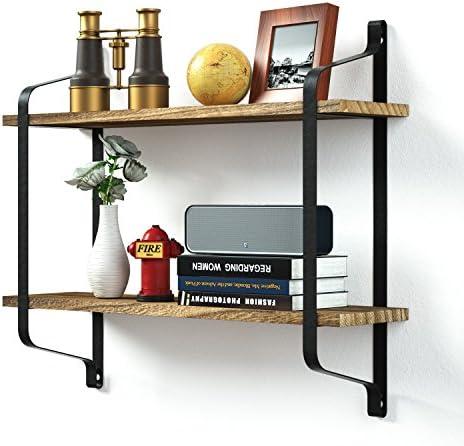 estante de almacenamiento con soporte de hierro y madera Love-KANKEI Estanter/ía flotante decorativa de pared de 2 niveles en estilo retro