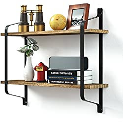 Love-KANKEI Rustic Floating Book Shelves Wall Mounted, Industrial Wall Shelves Pantry Living Room Bedroom Kitchen Entryway, 2 Tier Wood Storage Shelf Heavy Duty