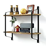 Love-KANKEI Rustic Floating Book Shelves Wall Mounted, Industrial Wall Shelves for Pantry Living Room Bedroom Kitchen Entryway, 2 Tier Wood Storage Shelf Heavy Duty