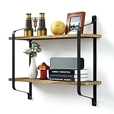 Love-KANKEI Rustic Floating Book Shelves Wall Mounted, Industrial Wall Shelves for Pantry Living Room Bedroom Kitchen Entryway, 2 Tier Wood Storage Shelf Heavy Duty Carbonized Black - FUNCTIONAL WOOD WALL SHELVES - Perfect choice for adding additional shelving space for books, collectibles, plants, crafts, photos and more in living room, bedroom, office, kitchen, pantry RUSTIC AND INDUSTRIAL FLOATING SHELVES - Features rustic style with torch finished solid wood boards and industrial metal brackets, great decorative wall shelves COMPACT TWO TIER STORAGE SHELVES - Simple and heavy duty organizing shelves with ample storage, 9.5 inch spaced 2 layers, 6 inch deep, capable of holding over 50 lbs - wall-shelves, living-room-furniture, living-room - 51woxmwngXL. SS400  -