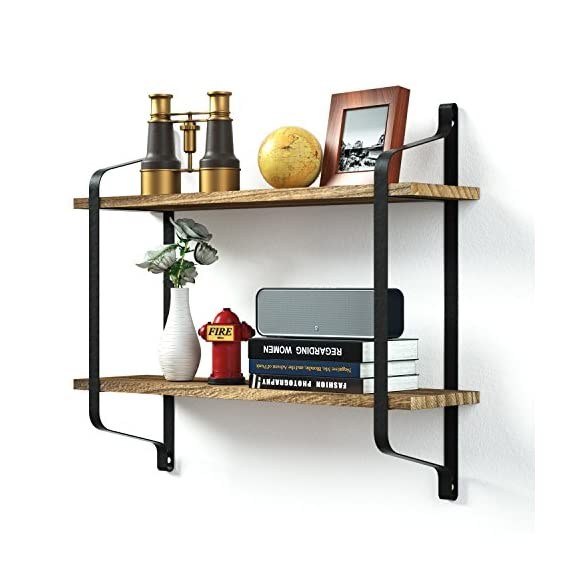 Love-KANKEI Rustic Floating Shelves Wall Mounted Industrial Wall Shelves for Pantry Living Room Bedroom Kitchen Entryway 2 Tier Wood Storage Shelf Heavy Duty Carbonized Black - FUNCTIONAL WOOD WALL SHELVES - Perfect choice for adding additional shelving space for books, collectibles, plants, crafts, photos and more in living room, bedroom, office, kitchen, pantry RUSTIC AND INDUSTRIAL FLOATING SHELVES - Features rustic style with torch finished solid wood boards and industrial metal brackets, great decorative wall shelves COMPACT TWO TIER STORAGE SHELVES - Simple and heavy duty organizing shelves with ample storage, 9.5 inch spaced 2 layers, 6 inch deep, capable of holding over 50 lbs - wall-shelves, living-room-furniture, living-room - 51woxmwngXL. SS570  -