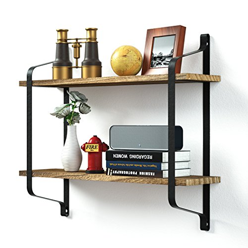 Love-KANKEI Rustic Floating Book Shelves Wall Mounted, Industrial Wall Shelves for Pantry Living Room Bedroom Kitchen Entryway, 2 Tier Wood Storage Shelf Heavy Duty (Collection Distressed Black Finish)