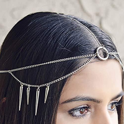 (Leiorthrix Punk Silver Pendant Head Chain Hoop Halloween Hair Chain Festival Hair Jewelry Wedding Bridal Head piece)