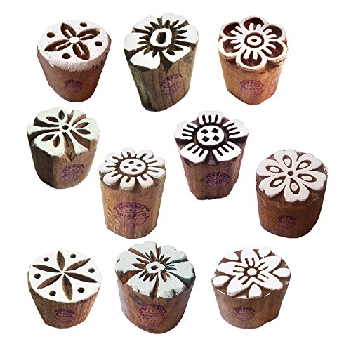 Henna Wood Stamps Exclusive Small Round Design Printing Blocks (Set of 10)