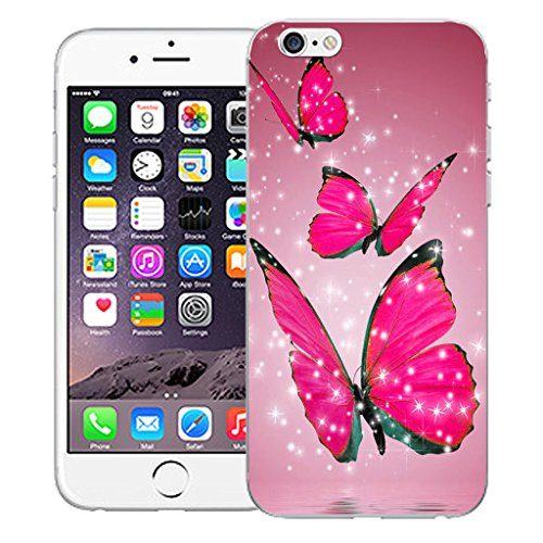 """Mobile Case Mate iPhone 6S 4.7"""" Silicone Coque couverture case cover Pare-chocs + STYLET - Floating Butterflies pattern (SILICON)"""