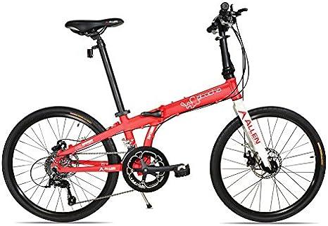 Allen Sports Atocha Bicicleta plegable con ruedas de aluminio de 24 pulgadas con frenos de disco y 18 velocidades, color rojo: Amazon.es: Deportes y aire libre