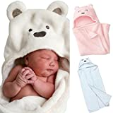Lovely Soft Baby Blanket Towels Animal Shape Hooded Bath Towel Bathrobe Clothes (0~2 years, White)