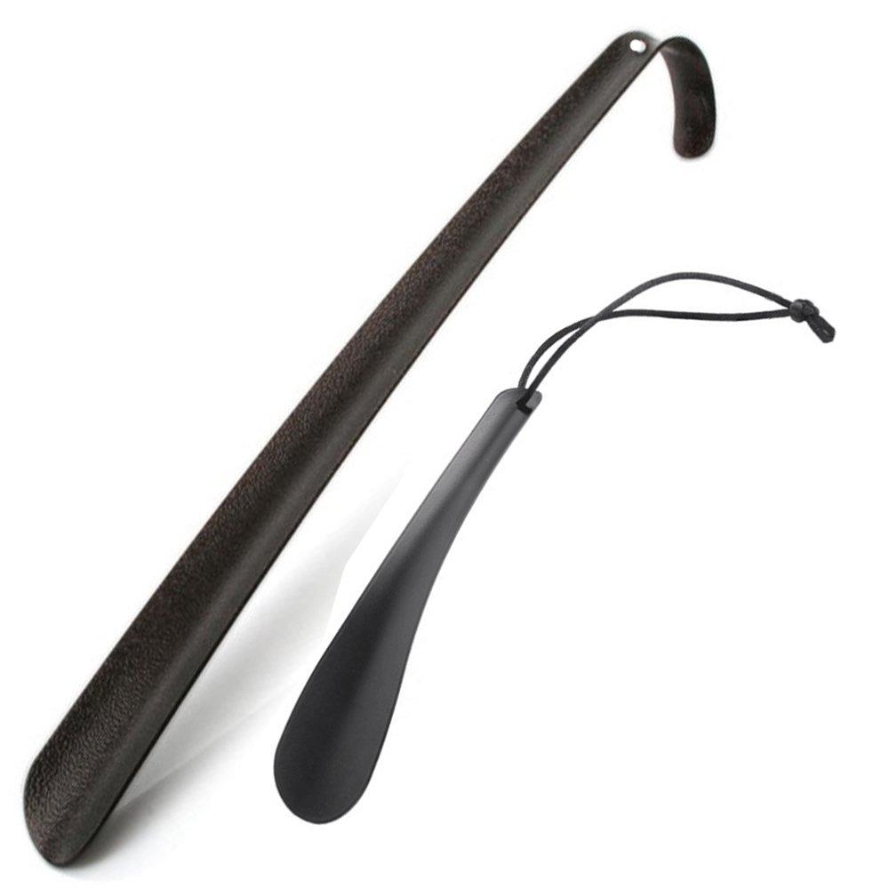 Long Black Handle Metal Shoe Horn, Travel Shoehorn for Men and Woman(2 pcs)