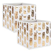 """DII Foldable Fabric Storage Containers for Cube Organizers, Toys, Cloths or Knick Knacks (Set of 2), 11 x 11 x 11"""", Pineapple Gold"""