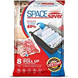 Space Saver 8 x Premium Travel Roll Up Compression Storage Bags For Suitcases - No Vacuum Needed - (4 x Large, 4 x Medium) 80% More Storage Than Leading Brands!