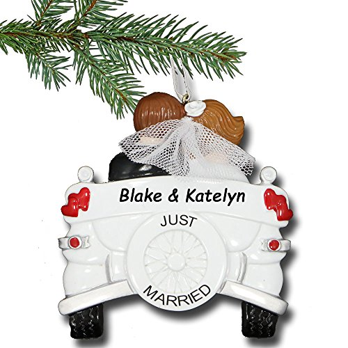 Rudolph and Me Personalized Just Married Christmas Ornament - Couple in Vintage Car Wedding Gift - Free Custom Names