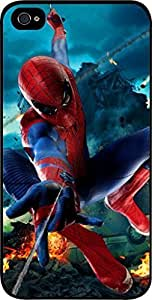 spiderman flying - Hard Black Plastic Snap - On Case -Apple Iphone 6 Plus ONLY- Great Quality!