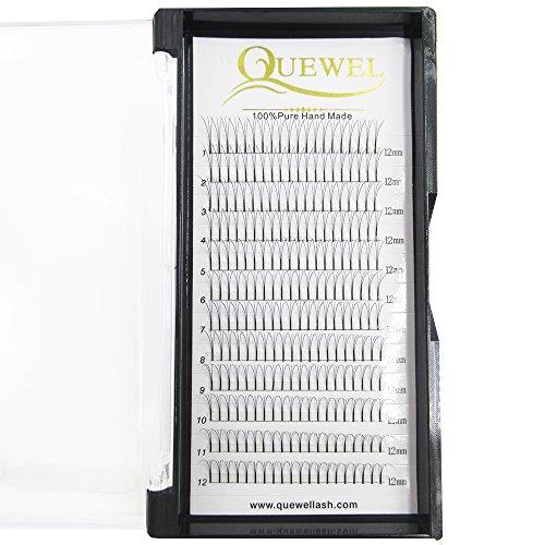 Quewel Lash Russian Volume Eyelash Extensions 3D C Curl 8-18mm Long Thickness 0.07 mm Premade Fans Volume Eyelashes Soft (3D-0.07-C, 12mm)
