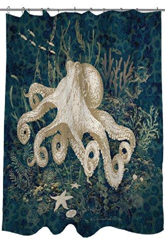 Manual Woodworkers & Weavers Shower Curtain, Octopus Vignette Blue