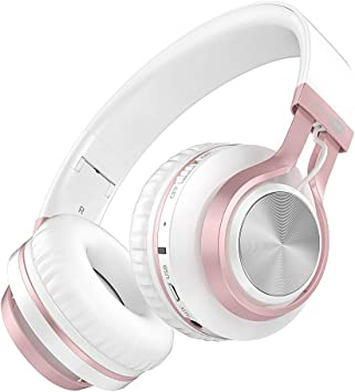 Amazon Com Baseman Wireless Bluetooth Headphones With Mic On Ear Lightweight Foldable Wired Headphones Hi Fi Stereo Earphones Deep Bass Over Ear Headphone For Music Computer Laptop Tv Pc Kids Pink White Home Audio