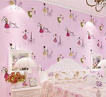 Yosot Chambre Fille Chaude Papier Peint Pour Chambre D Enfants Papier Violet Amazon Fr Bricolage