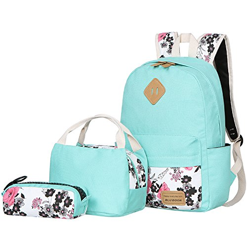 BLUBOON Teens Backpack Set Canvas Girls School Bags, Bookbags 3 in 1 (Water (Girl Canvas Bag)