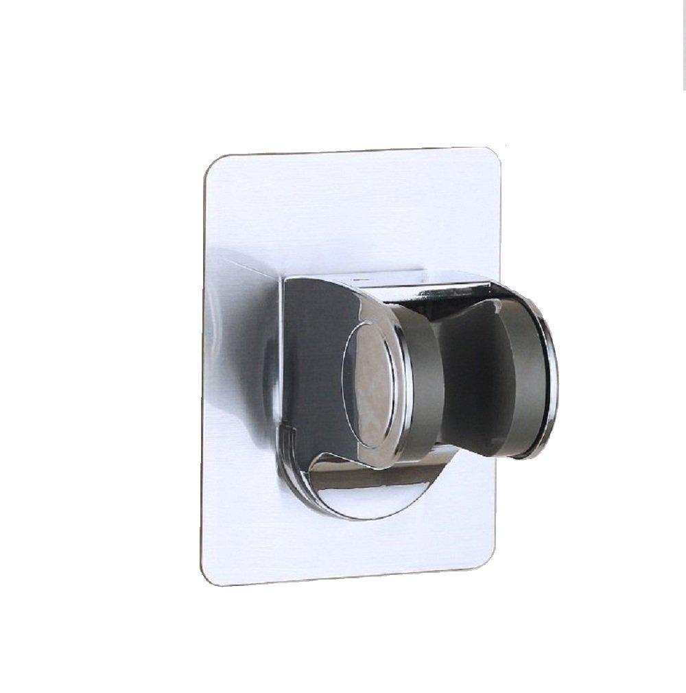 Fealkira Nail Free Handheld Shower Head Holder Shower Adjustable Bracket Wall Mount for Bathroom with Adhesive Stick Disc -Plastic (Plastic-brushed)