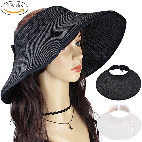 n's Wide Brim Roll Up Floppy Beach Straw Sun Hat Visor Cap (Black & White) (Le Top Sun Hat)