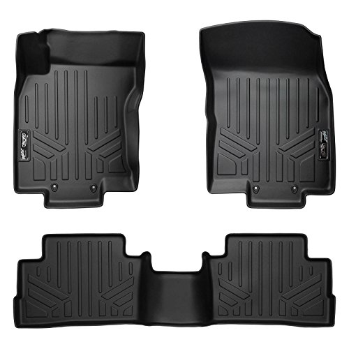 SMARTLINER Custom Fit Floor Mats 2 Row Liner Set Black for 2017-2019 Nissan Rogue Sport