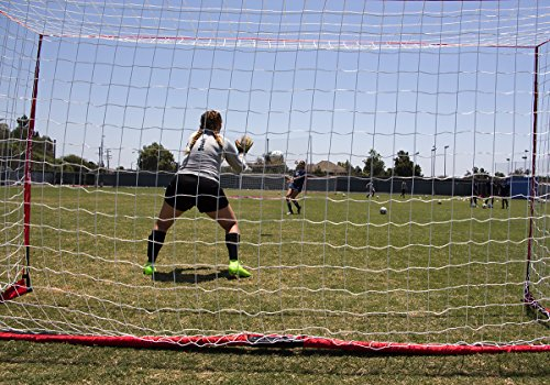 PowerNet Soccer Goal 14x7 Portable Bow Style Net | Instant Collapsible Metal Base | Durable Vertical Posts | Quick Setup Easy Folding Storage | 1 Goal+1 Wheeled Carrying Bag | 14 x 7 Full Size