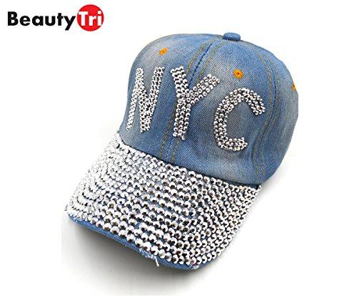 Beauty Tri Fashion Women Bling Rhinestone NYC Baseball Caps Hats Blue at  Amazon Women s Clothing store  fddbc7ce59f