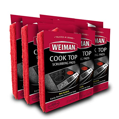 Weiman Cook Top Scrubbing Pads - 18 Count - 6 Pack - Cuts Through the Toughest Stains - Scrubbing Pads Carefully Wipe Away ()
