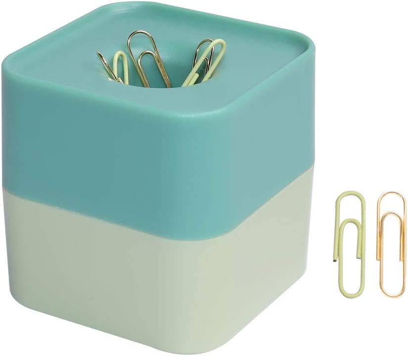 Paperclip Holder Novelty Two Tone Weak Magnetic Paper Clip Dispenser with Paper Clips Office, School and Home Desk Supplies (Green)