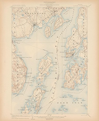 Historic Map Reproductions - Historic Pictoric Map | Atlas of Maine 1905, Brooksville & Castine & Islesboro & Northport & Searsport 1905 Topographic | Vintage Poster Art Reproduction | 24in x 30in