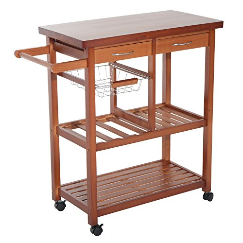 Adjustable Kitchen Cart - HomCom Wooden Rolling Storage Microwave Cart Kitchen Trolley with Drawers