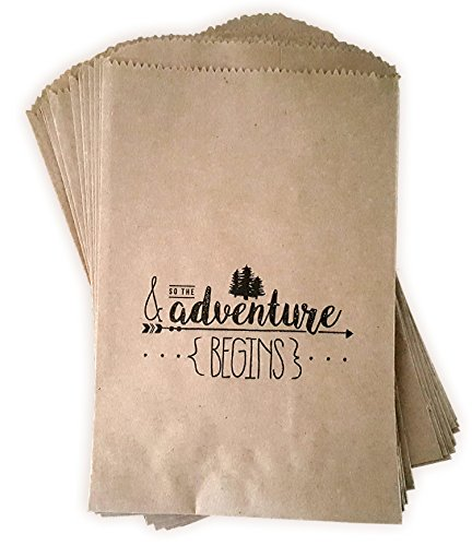 Kraft Paper Rustic Treat, Favor Or Gift Bags 24 ct & so The Adventure Begins Made Out of 100% Recycled Paper -