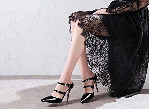 Rosso beige Rosa a 39 34 Scarpe Bianco Taglia SHINIK punta Nero tacco da Scarpe Sandali con donna Nero Giallo xqxwPz7
