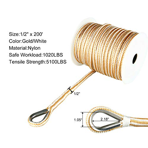 Amarine Made Heavy Duty Double Braid Nylon Anchor Line with Stainless Steel Thimble-White/Gold (1/2