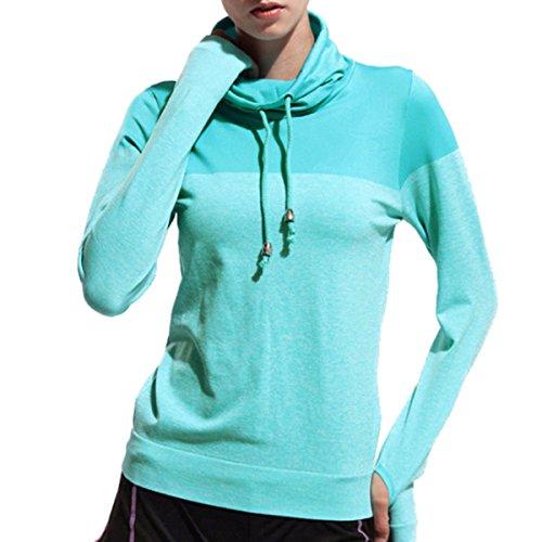 La Sra Otoño Deportes De Manga Larga De Cuello Alto Pequeña Tapas De La Camiseta De La Yoga Blue