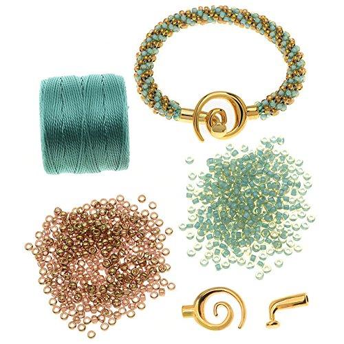- Beadaholique Refill - Spiral Beaded Kumihimo Bracelet (Gold/Turq) - Exclusive Jewelry Kit