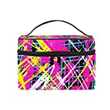 Abstract Graffiti Hip Hop Street Art Portable Cosmetic Toiletry Bags Large Makeup Travel Bags with Handle 9''