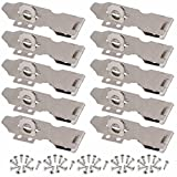 Wideskall 4'' inch Zinc Plated Swivel Safety Hasp and Staple with Screws (Pack of 10)