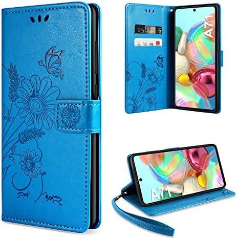 ivencase für Samsung Galaxy A71 Hülle Flip Lederhülle, Samsung Galaxy A71 Handyhülle Book PU Leder Tasche Case mit Kartenfach und Magnet Kartenfach Schutzhülle für Samsung Galaxy A71 - Blau