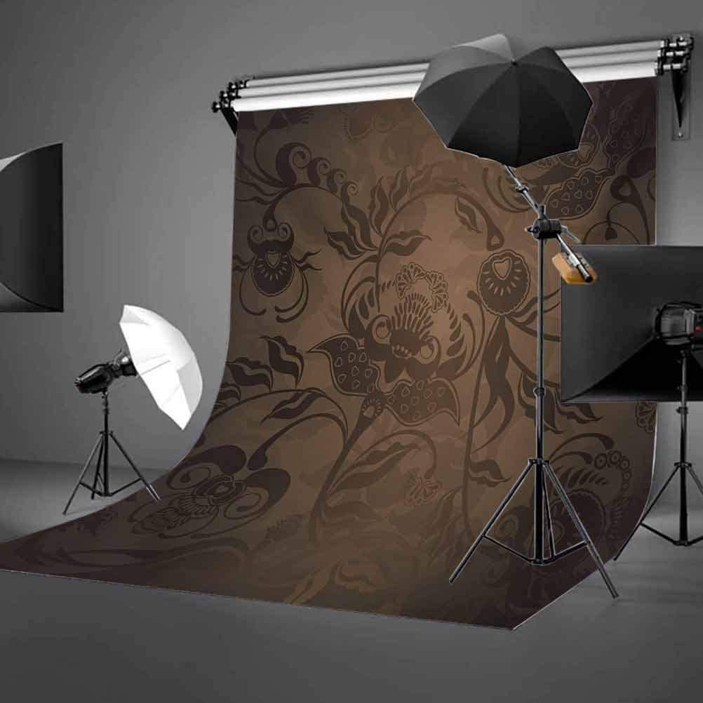 Floral Paisley Ivy Design Leaves with Abstract Details Ancient Print Background for Party Home Decor Outdoorsy Theme Vinyl Shoot Props Seal Brown Chocolate Victorian 10x12 FT Photography Backdrop